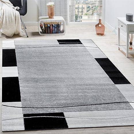 Paco Home Designer Teppich Wohnzimmer Teppich Bordüre In Grau Schwarz Creme Preishammer Grösse120x170 Cm