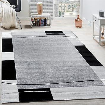 Paco Home Designer Teppich Wohnzimmer Teppich Bordure In Grau