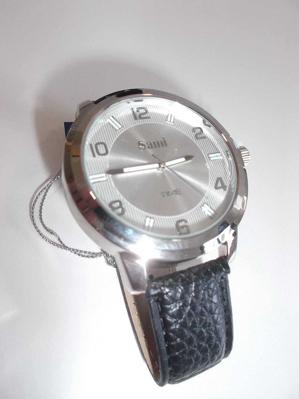 Sami RSM-43480-2 Conjunto Reloj de caballero metal esfera plata fondo blanco correa de piel color negro, pulsera metal y llavero: Amazon.es: Relojes