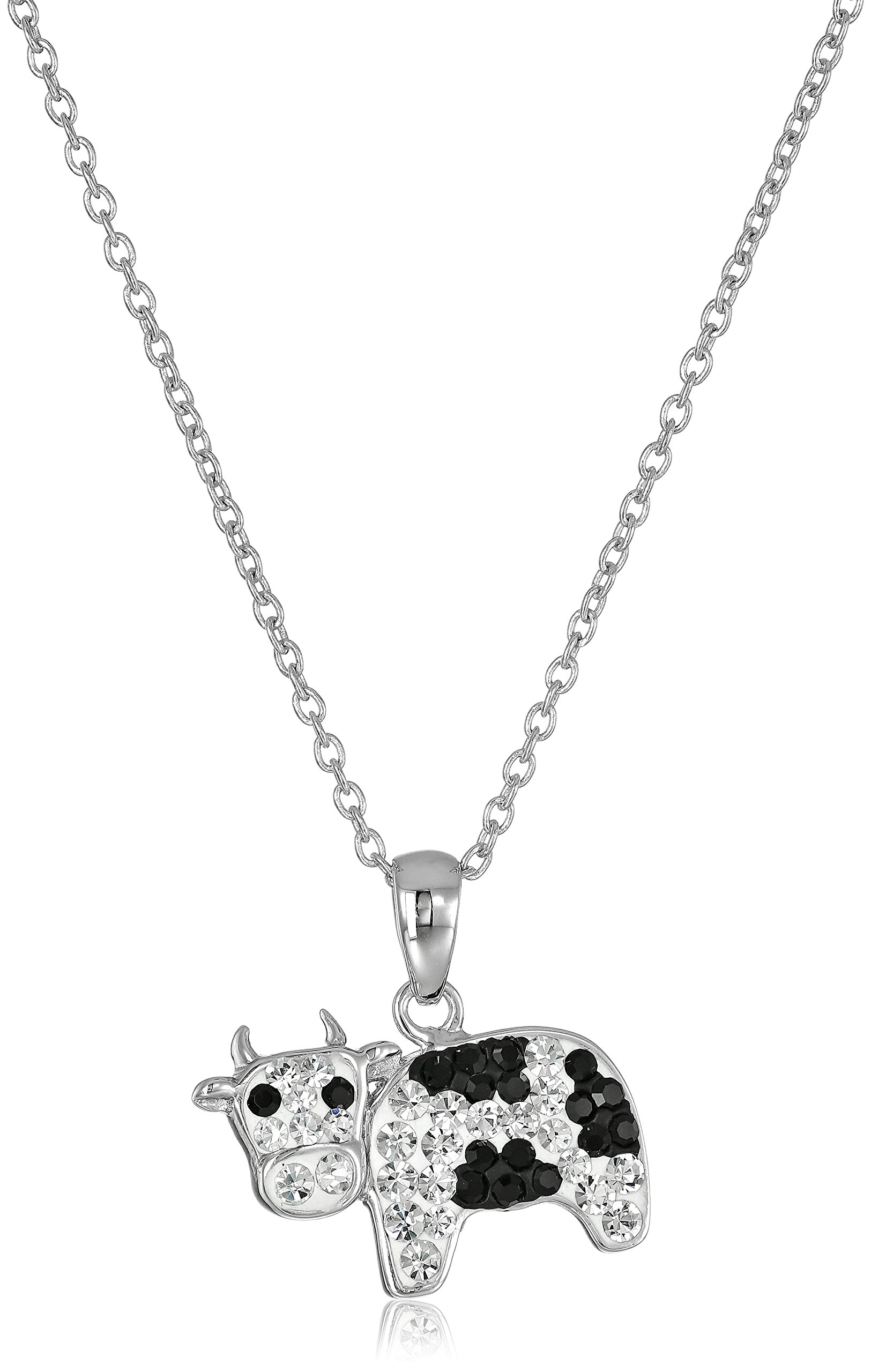 Silver-Plated Crystal Cow Pendant Necklace, 18''