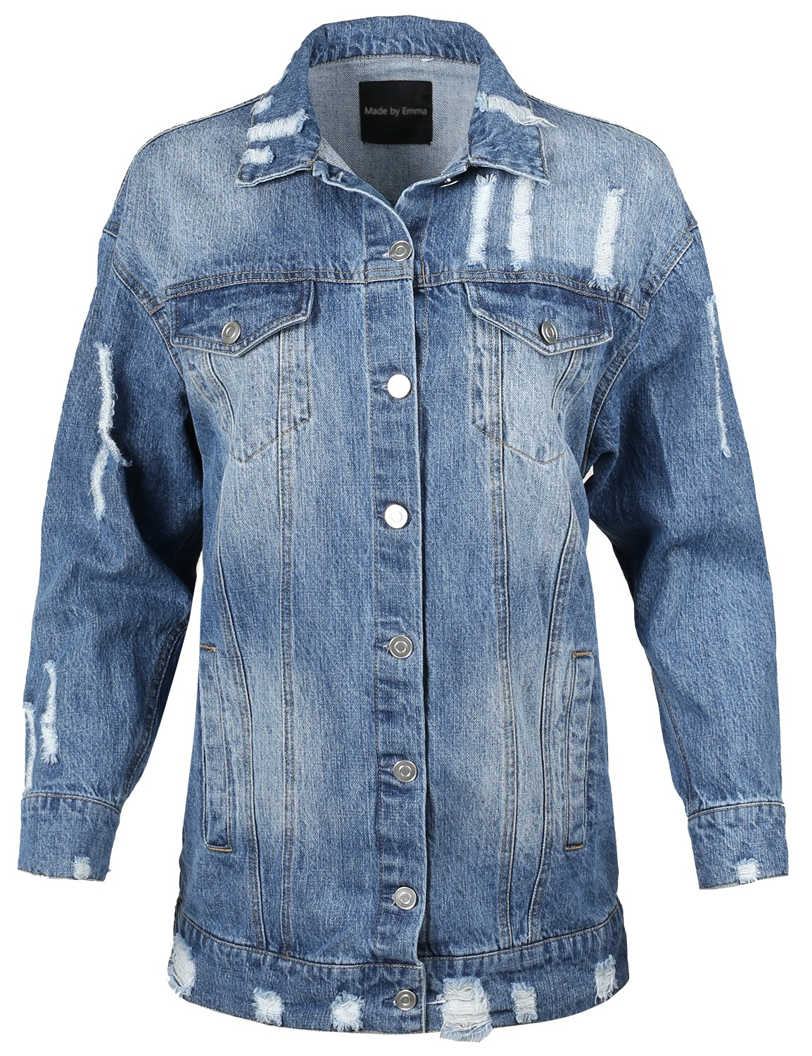 Made by Emma Over-sized Distressed Long Sleeve Denim Jacket Blue L