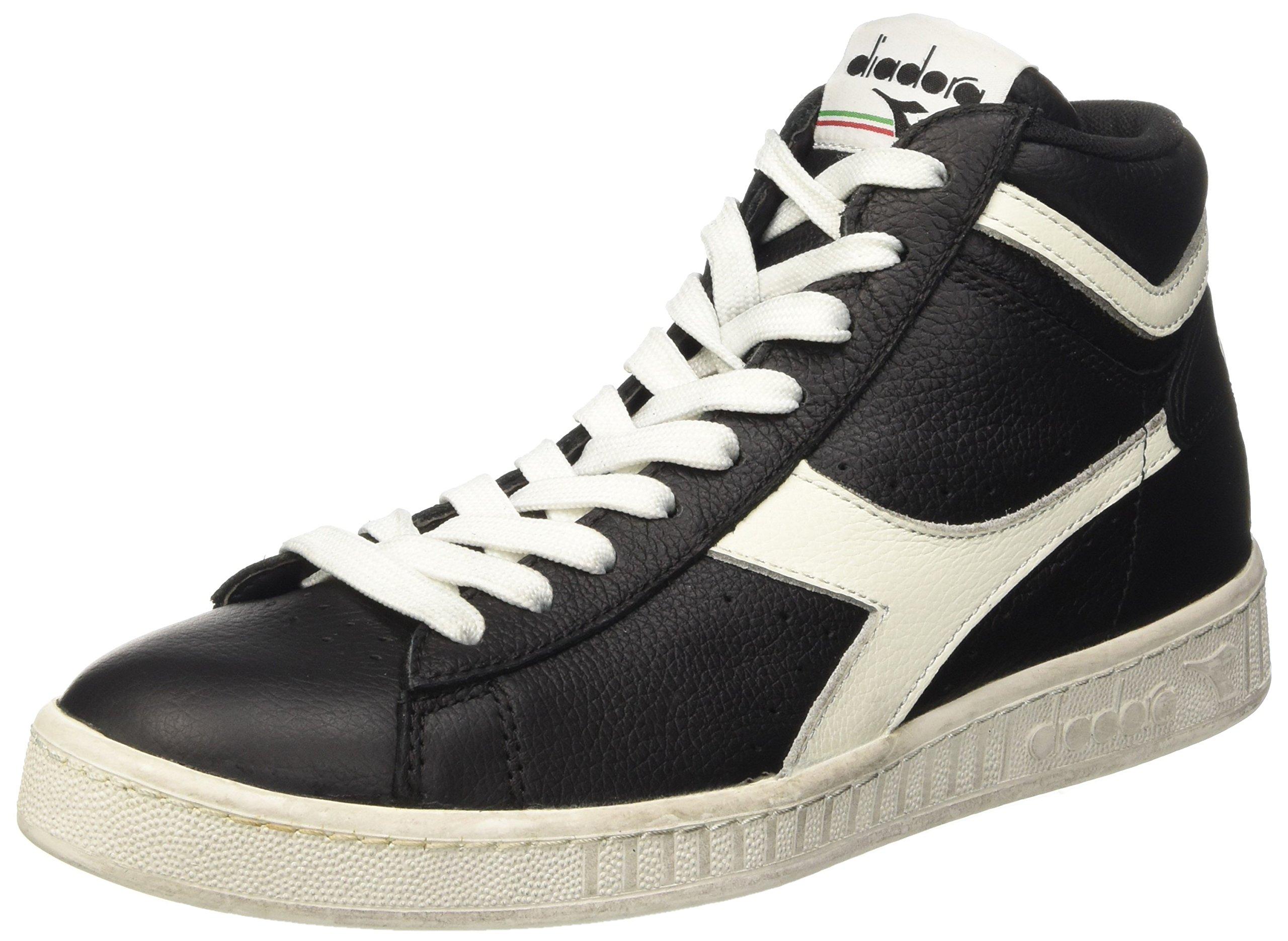 Diadora Game L High Waxed Skate Shoe,Black/Cloud Dancer,9 M US by Diadora