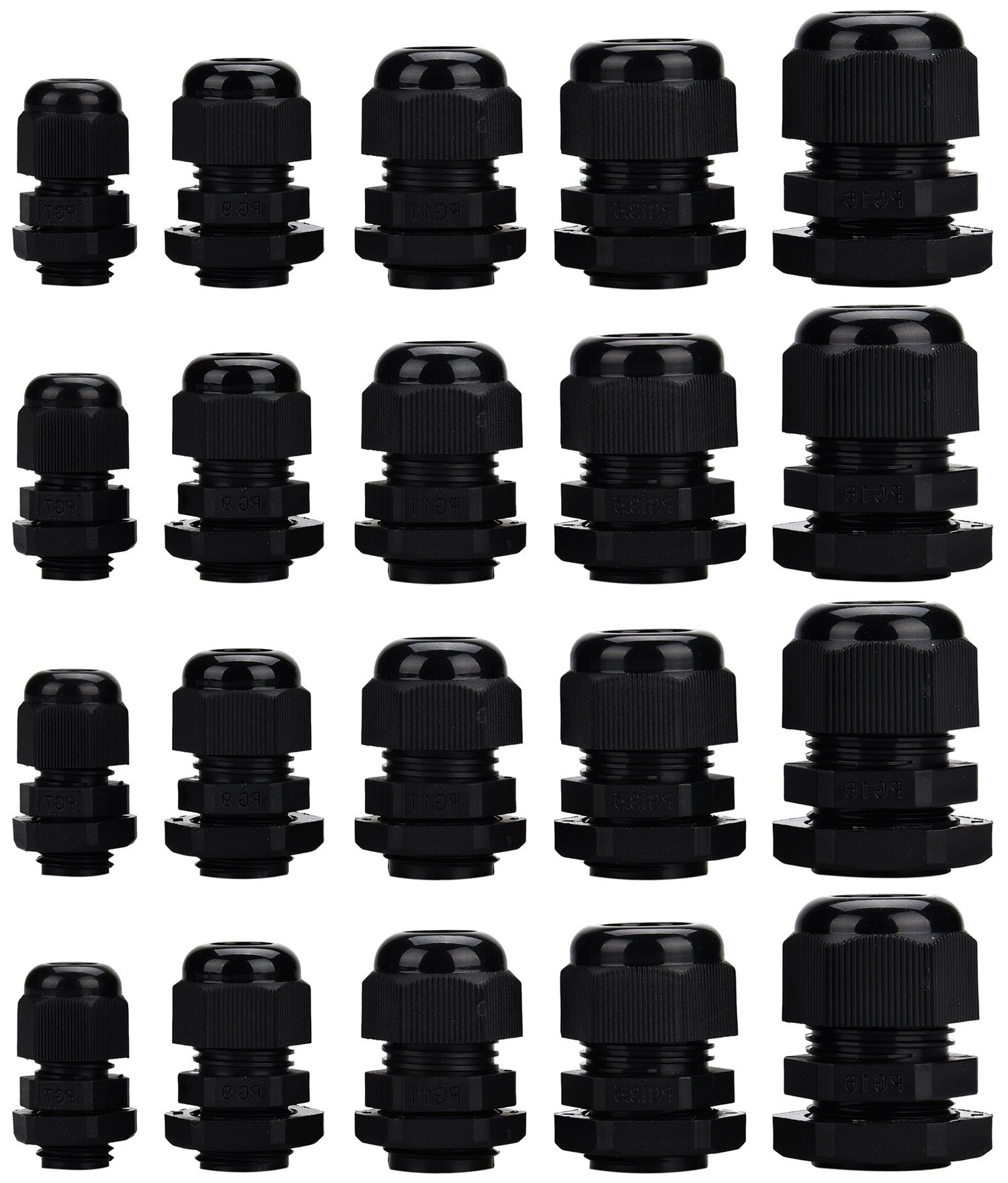 Cable Gland, eLander Plastic Waterproof Adjustable 3.5 - 13mm Cable Gland Joints, PG7, PG9, PG11, PG13.5, PG16, Pack of 20
