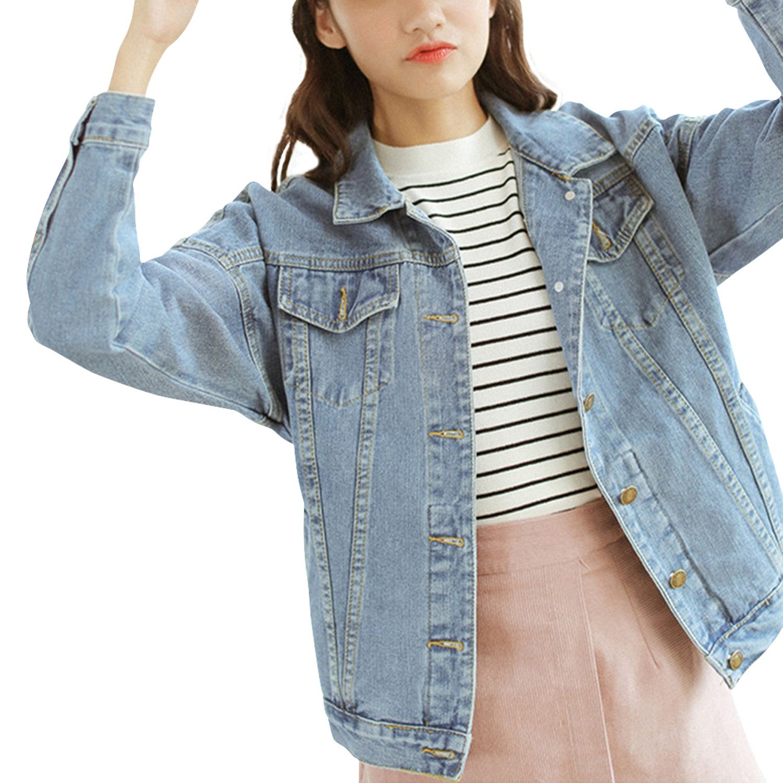 Bess Bridal Women's Classic Boyfriend Denim Jacket Long Sleeve Loose Jean Coats (Large)
