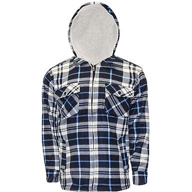 4b48177ed6fd Kentex Online New Mens Padded Hooded Shirt Polar Fleece Fur Lined ...