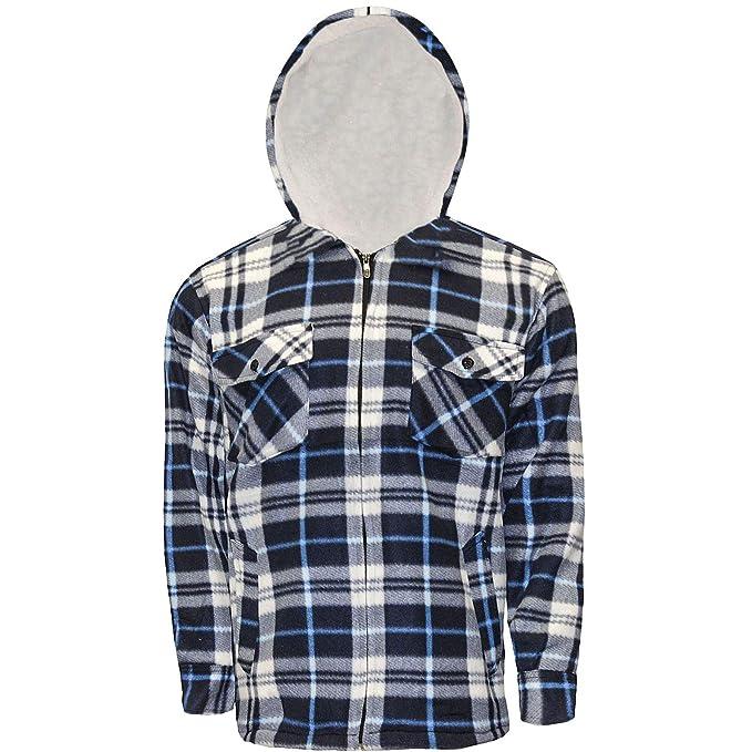c696f5a155 Kentex Online New Mens Padded Hooded Shirt Polar Fleece Fur Lined Work  Shirts Winter Warm Hoody M L XL XXL  Amazon.co.uk  Clothing