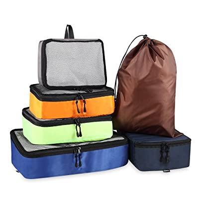 amelleon 6 Set large capacity ultralight Packing Cubes, Travel Organizer, with travel laundry bag and shoes bag