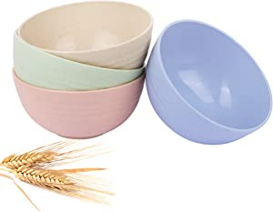 Storesum cereal bowls-24OZ unbreakable wheat straw bowls for kitchen-Eco friendly durable pack of 4 lightweight serving bowls set-microwave and dishwasher safe-for Rice,Fruit,Soup Bowls