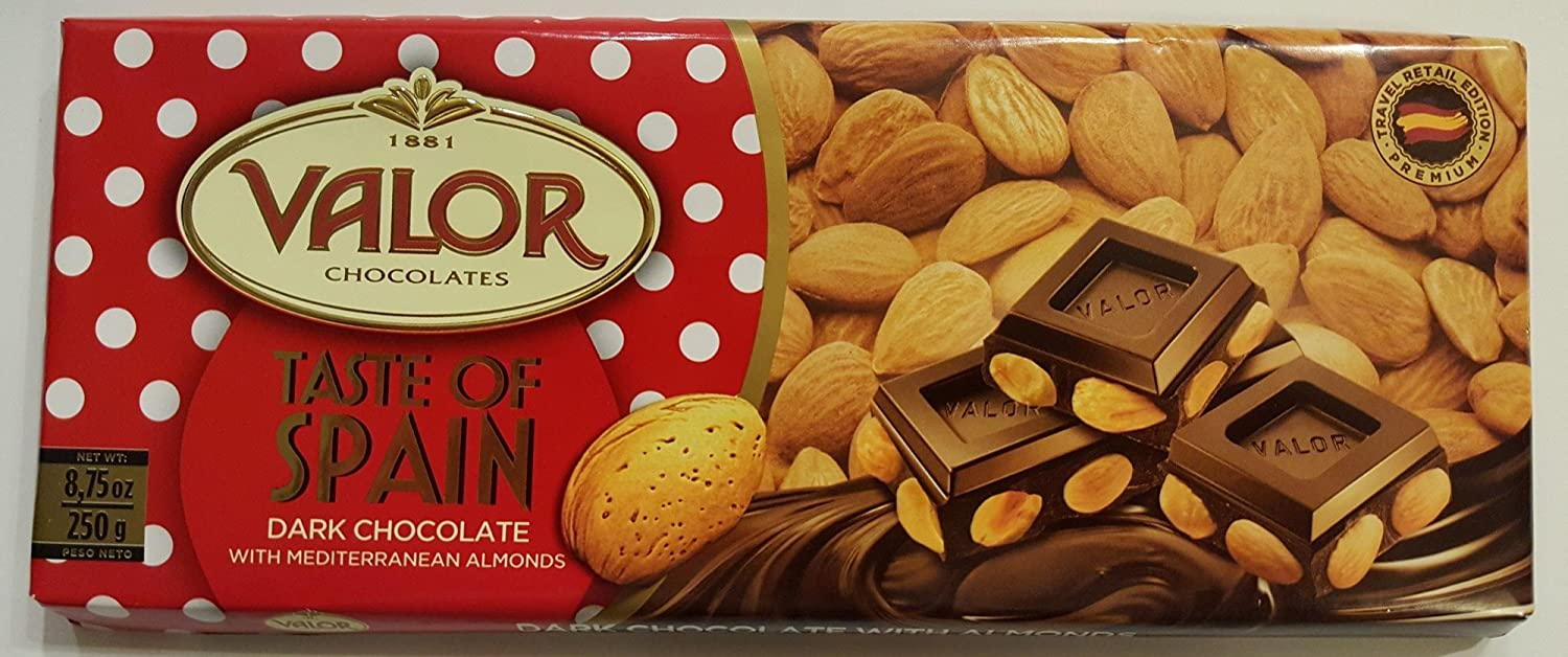 Amazon.com : Valor Chocolates - Taste of Spain Premium Edition 8.75 Oz (Dark Chocolate with Mediterranean Almonds) : Grocery & Gourmet Food