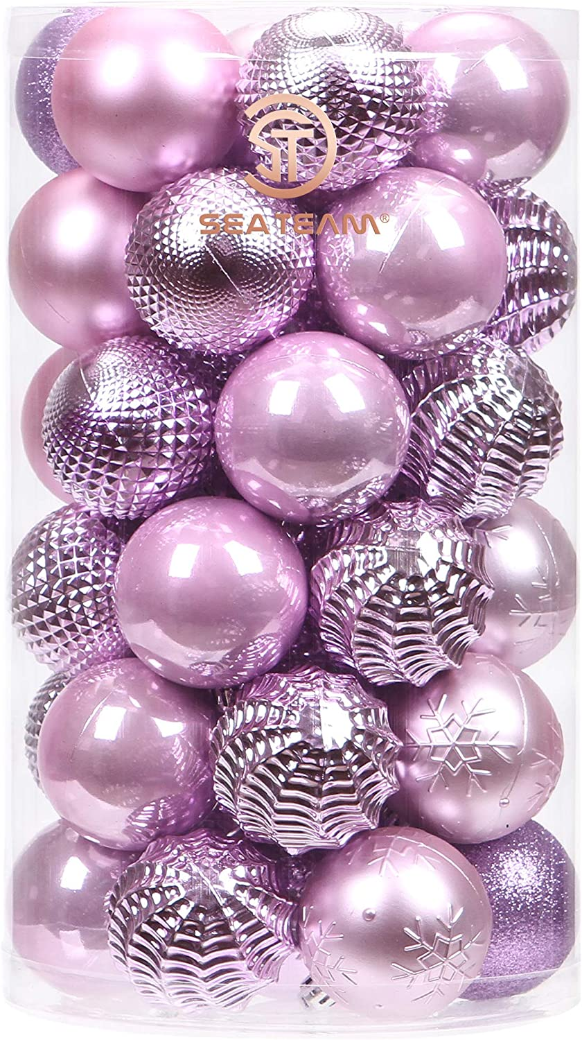 Sea Team 41-Pack Christmas Ball Ornaments with Strings, 60mm/2.36-Inch Medium Size Baubles, Shatterproof Plastic Christmas Bulbs, Hanging Decorations for Xmas Tree, Holiday, Wedding, Party, Lavender