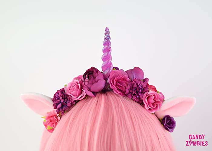 Einhorn Haarreif Blumenkrone Blumenhaarband Mit Einhorn Horn In