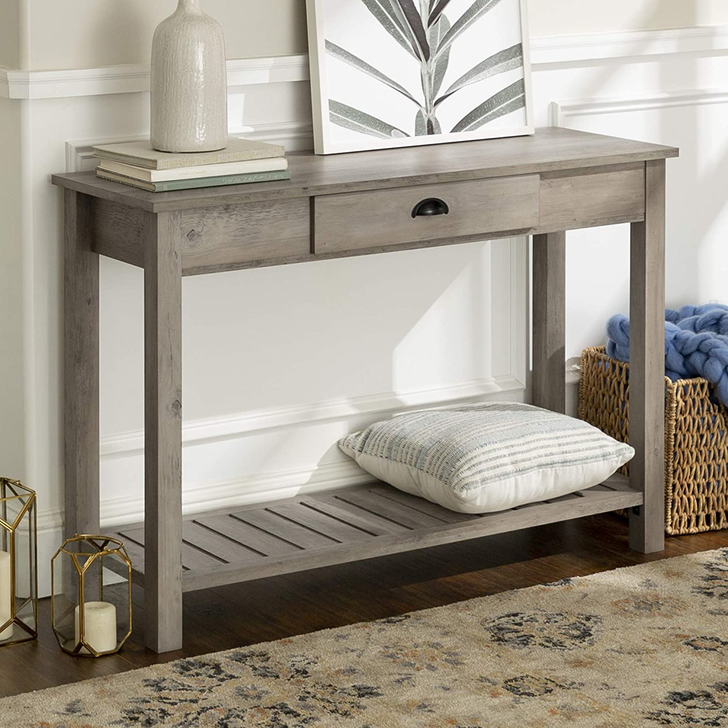 WE Furniture AZF48CYETGW Country Style entry Console Table, Grey Wash