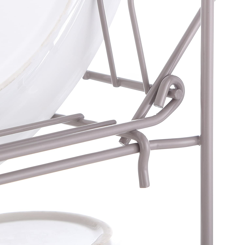 Harima Escurreplatos de dos niveles con bandeja antigoteo y cesta para cuberter/ía gris c/álido