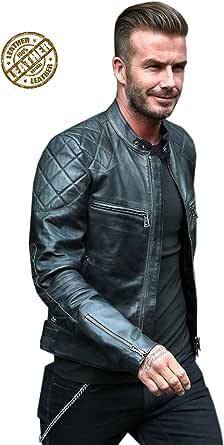 BNWT David Beckham Faux Leather Jacket Men/'s Black Motorcycle Jacket