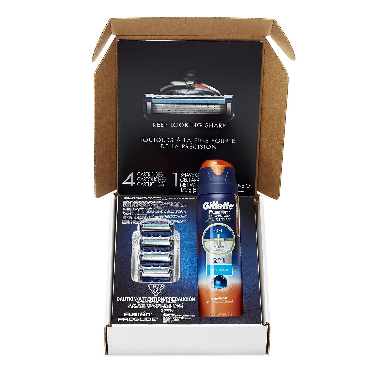 Gillette Fusion ProGlide Razor Blade Refills 4 Count + ProGlide Sensitive Shave Gel 6oz, 1 kit