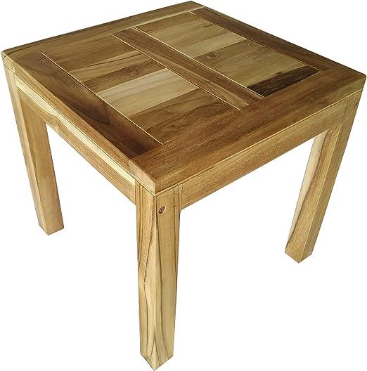 CHICREAT - Mesa de comedor para el jardín de madera maciza de teca, aproximadamente 50 x 50 cm: Amazon.es: Jardín