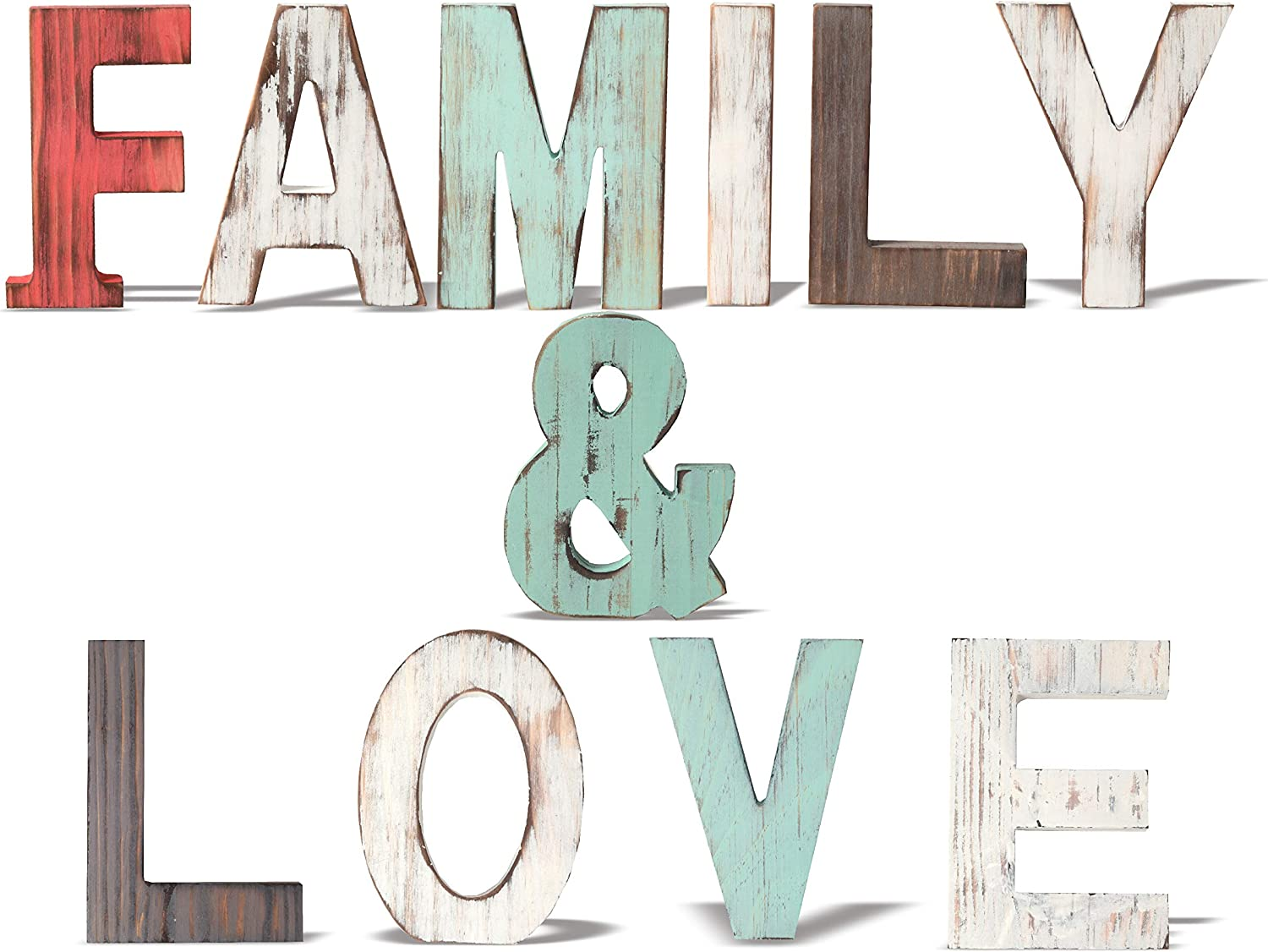MEANT2TOBE Rustic Wood Family & Love Signs Home Décor |Freestanding Wooden Letters Cutouts for Home Décor|Multi-Color Wooden Signs |Decorative Word Signs|Multicolor Table Decor Centerpiece