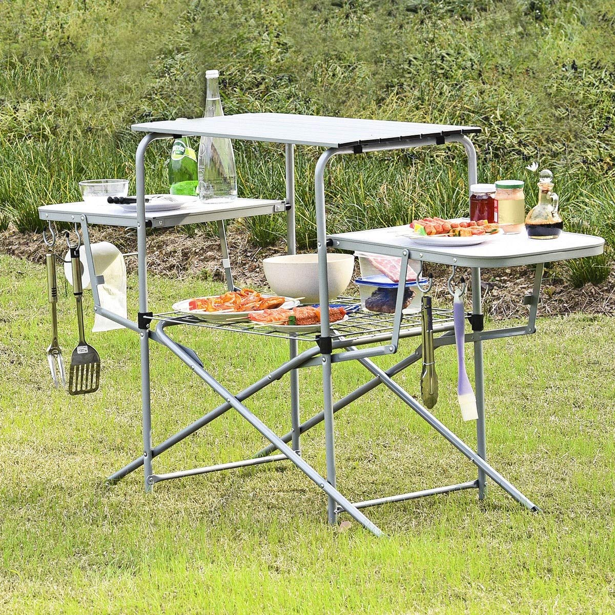 Global Supplies GS-9937 Foldable Camping Outdoor Kitchen Grilling Stand BBQ Table by Global Supplies
