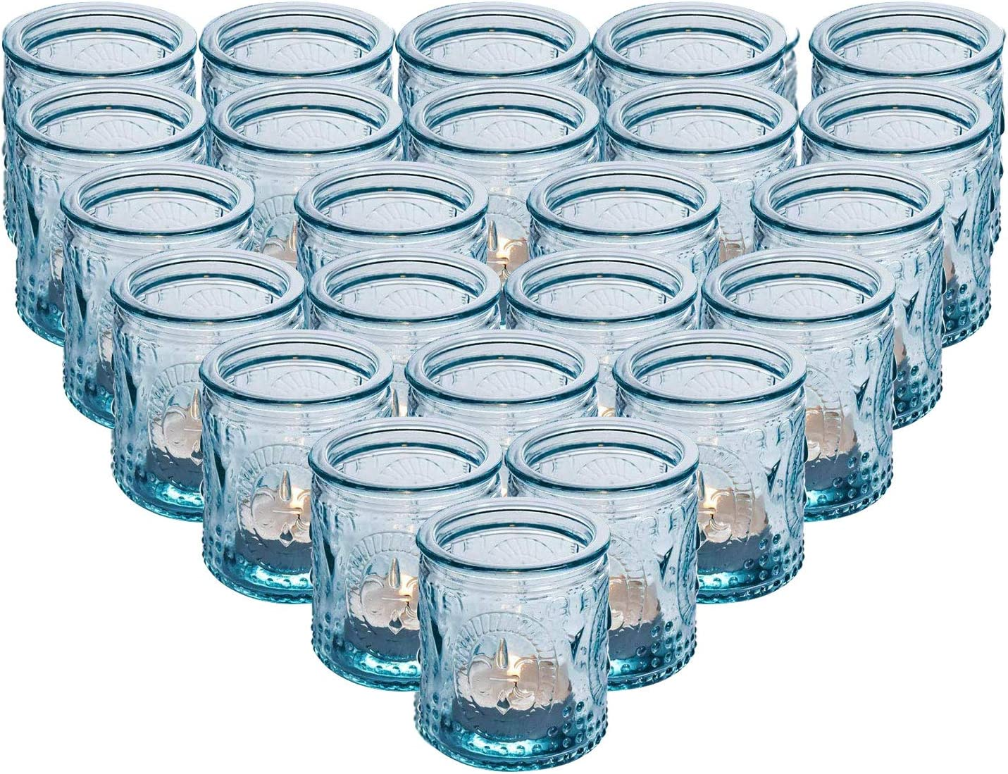 24-Pack Glass Vintage Votive Tealight Candle Holders, Wax Cups - Perfect for Table Centerpieces, Wedding Decor, Home Decor, Bridal Shower, Dinner Party, Outdoor Patio, Kitchen, Bedroom and Holidays