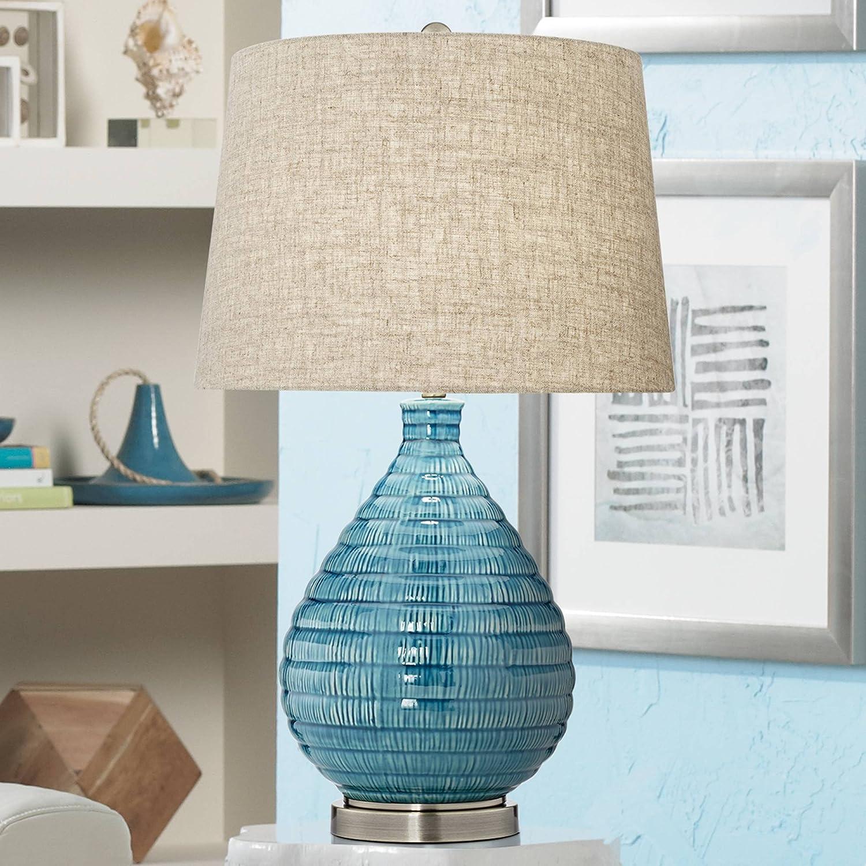 Kayley Mid Century Modern Table Lamp Textured Ceramic Sky Blue Glaze Linen Fabric Tapered Drum Shade for Living Room Bedroom - 360 Lighting