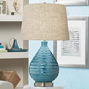 Kayley Mid Century Modern Table Lamp Textured Ceramic Sky Blue Glaze Linen Fabric Tapered Drum Shade for Living Room Bedroom - 360 Lighting