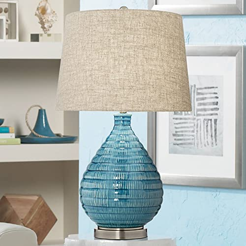Kayley Mid Century Modern Table Lamp Textured Ceramic Sky Blue Glaze Linen Fabric Tapered Drum Shade for Living Room Bedroom – 360 Lighting
