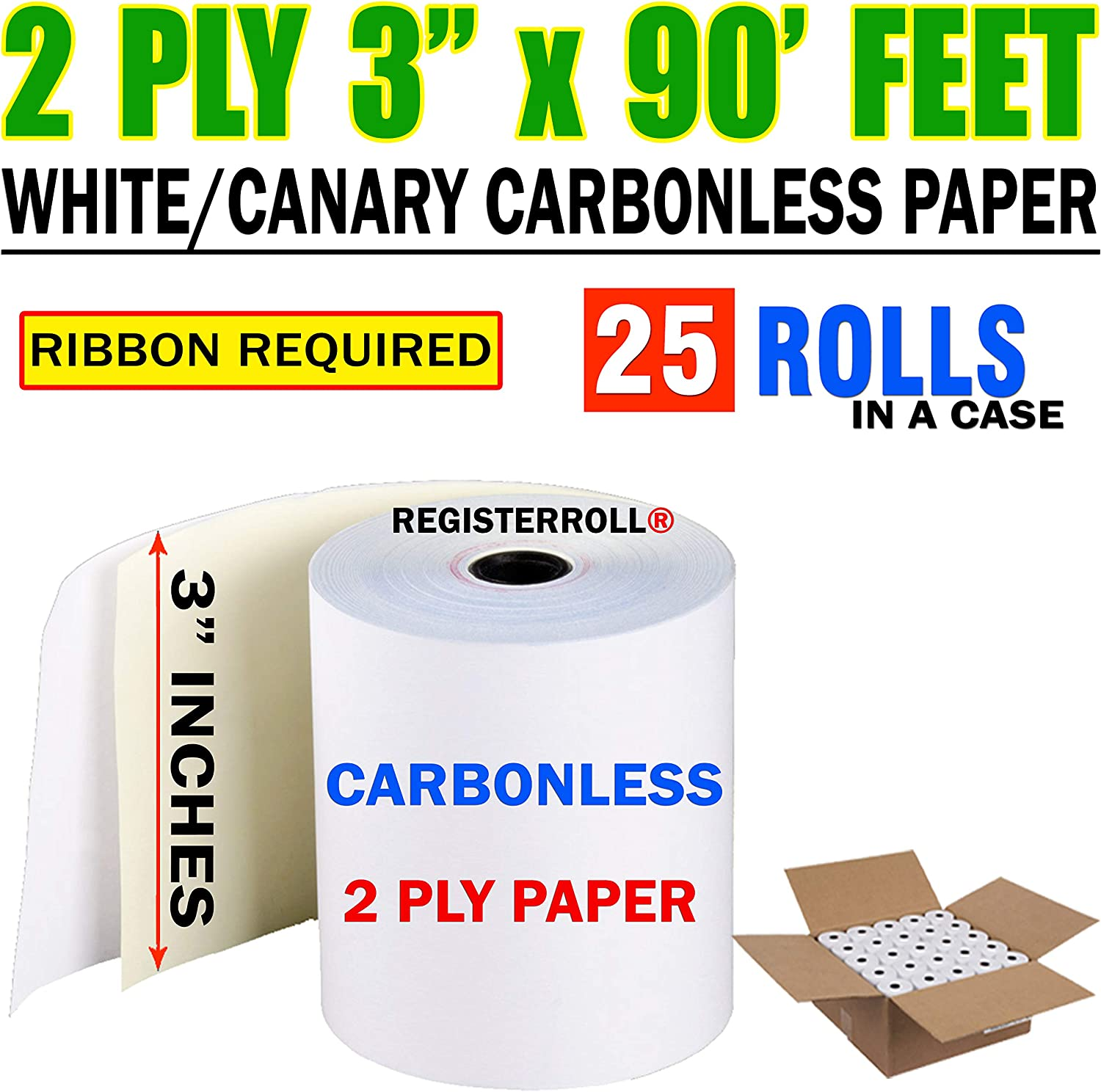 """3/"""" x 90/' 2-ply Carbonless White//Canary Receipt Paper Rolls 50 rolls//case"""