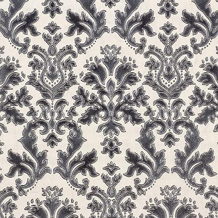 Textured Vinyl Damask Wallpaper Black Cream And Silver P S 02485