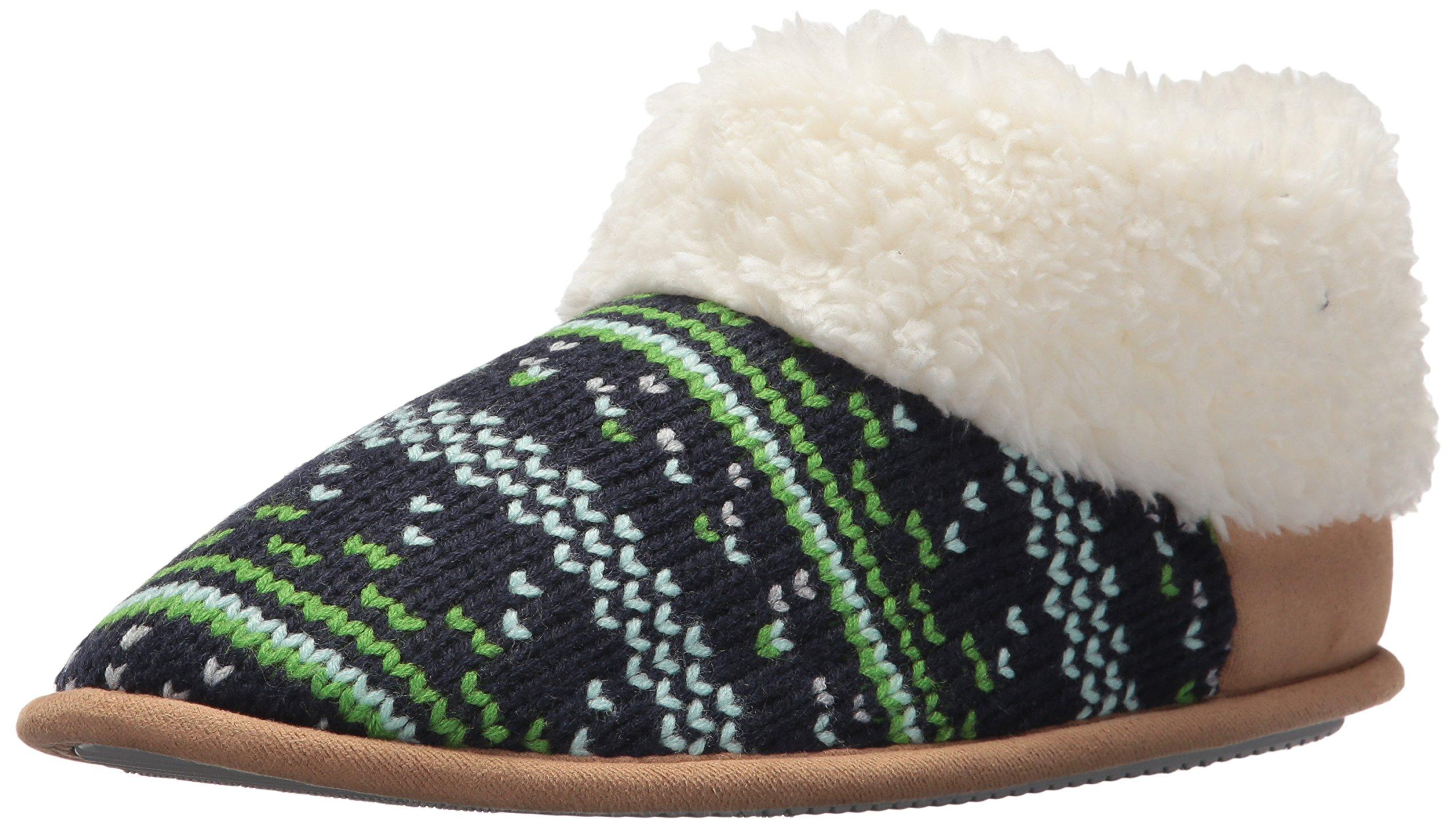 Dearfoams Women's Patterned Knit Bootie, Peacoat, M Medium US