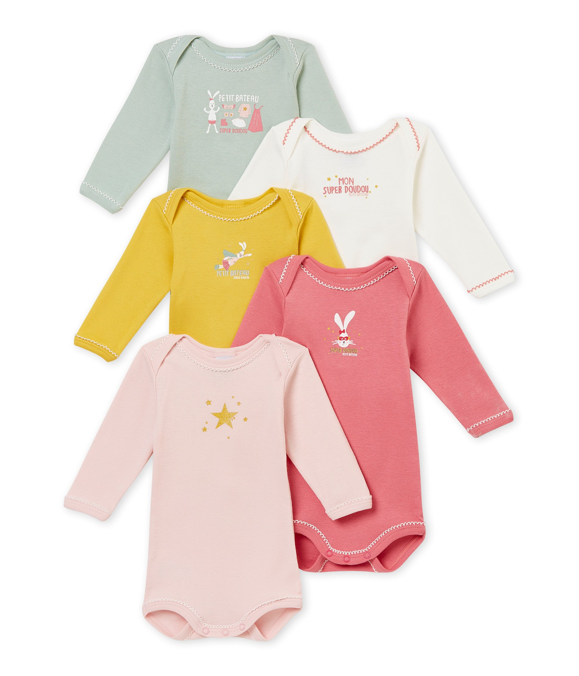 1f5f65bc9624f Petit Bateau SF Bodies Us ML Body (Lot de 5 Bébé Fille product image