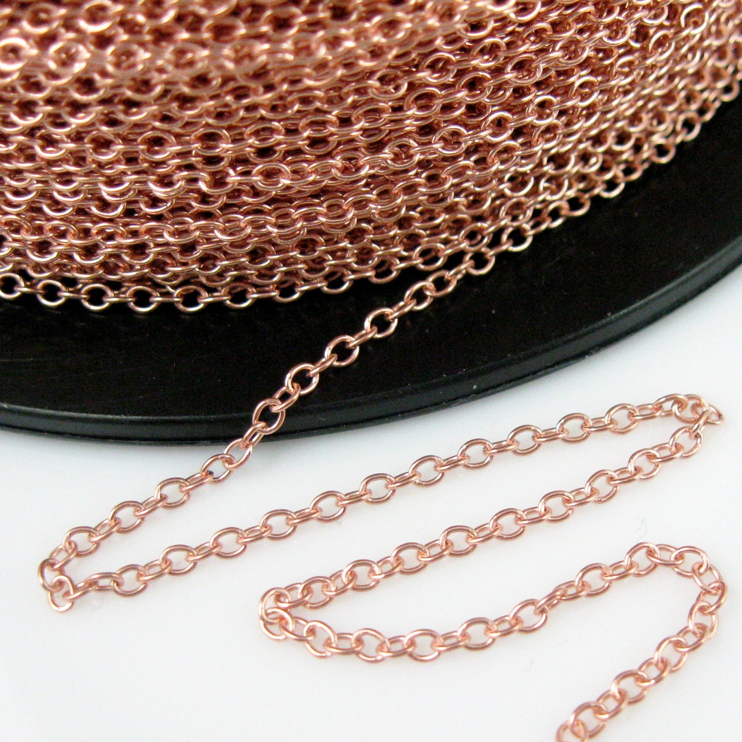 Rose Gold plated 925 Sterling Silver Chain - Strong Cable Chain - Unfinished Bulk Chain - 2mm (3 feet) Beadunion