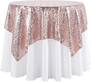 """Peomeise Rose Gold 50""""X50"""" Sequin Tablecloth Overlay for Wedding, Party Decorations"""