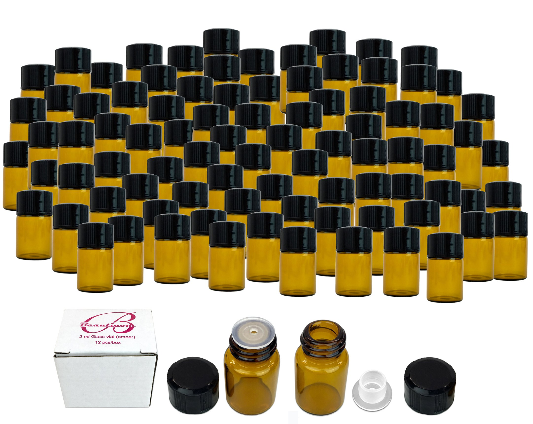 72 Packs Beauticom 2ML Amber Glass Vial for Essential Oils, Aromatherapy, Fragrance, Serums, Spritzes, with Orifice Reducer and Dropper Top
