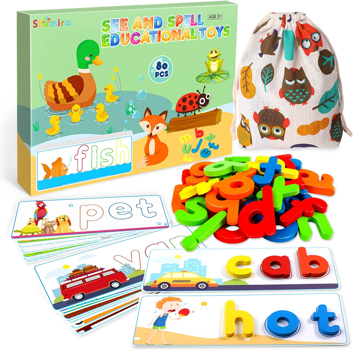 See & Spell Matching Letter Game Toy for Kids,Learning Educational Toy for 3 4 5 6 Years Old Boys and Girls,Preschool/Kindergarten Learning Activities,Shape & Color Recognition Game,CVC Word Builders