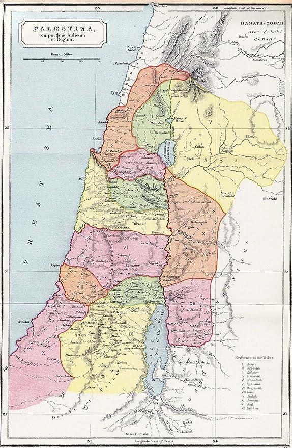 MAP PALESTINA PALESTINE JUDIEM LARGE WALL ART PRINT POSTER PICTURE LF2606