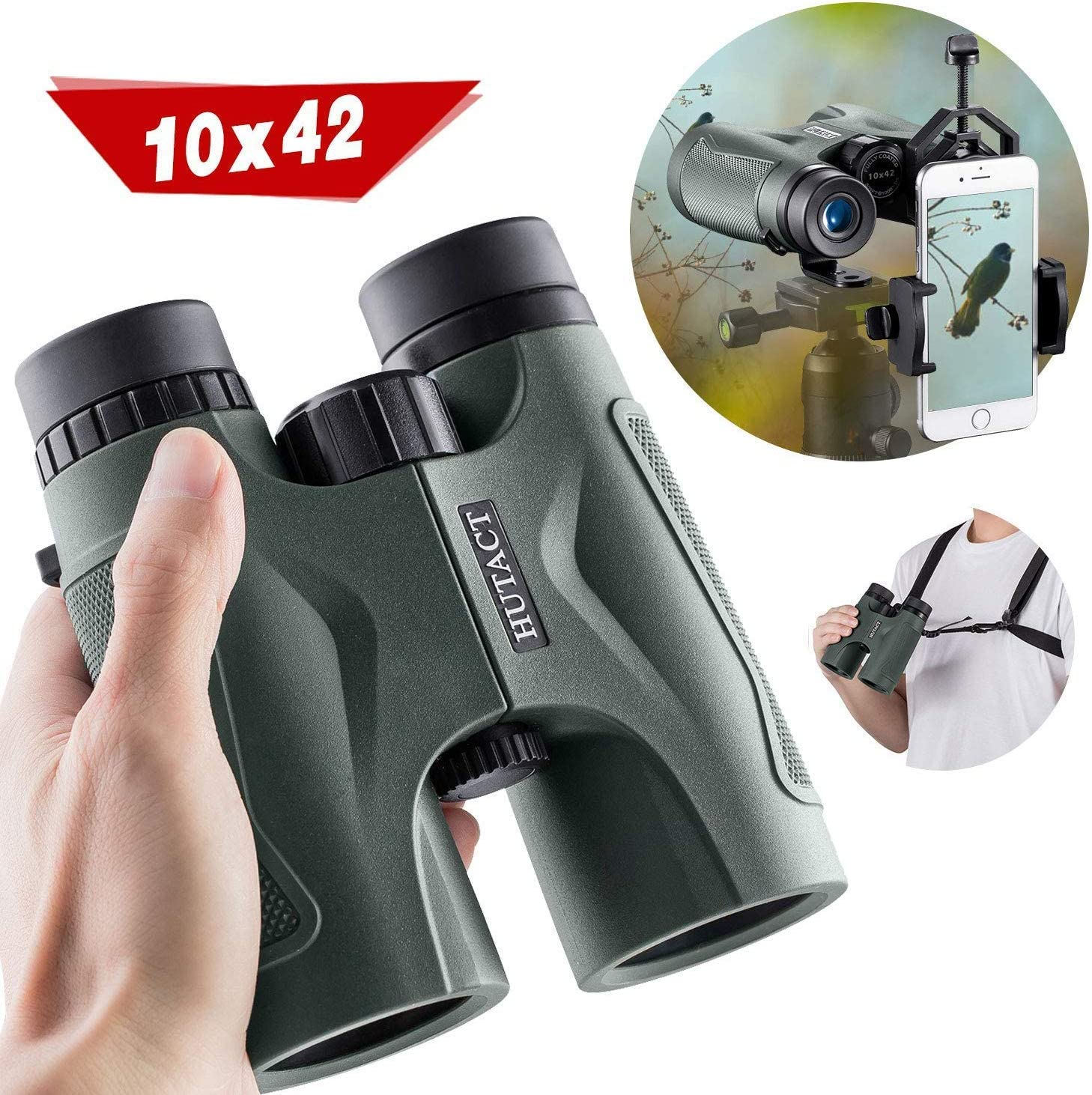 HUTACT Binoculars for Adults, 10×42 Compact Binoculars for Birdwatching, Hunting, Travel BAK4 Roof Prism Fully Multi Coated Lenses, with Tripod Connector and Telescope Adapter Mount