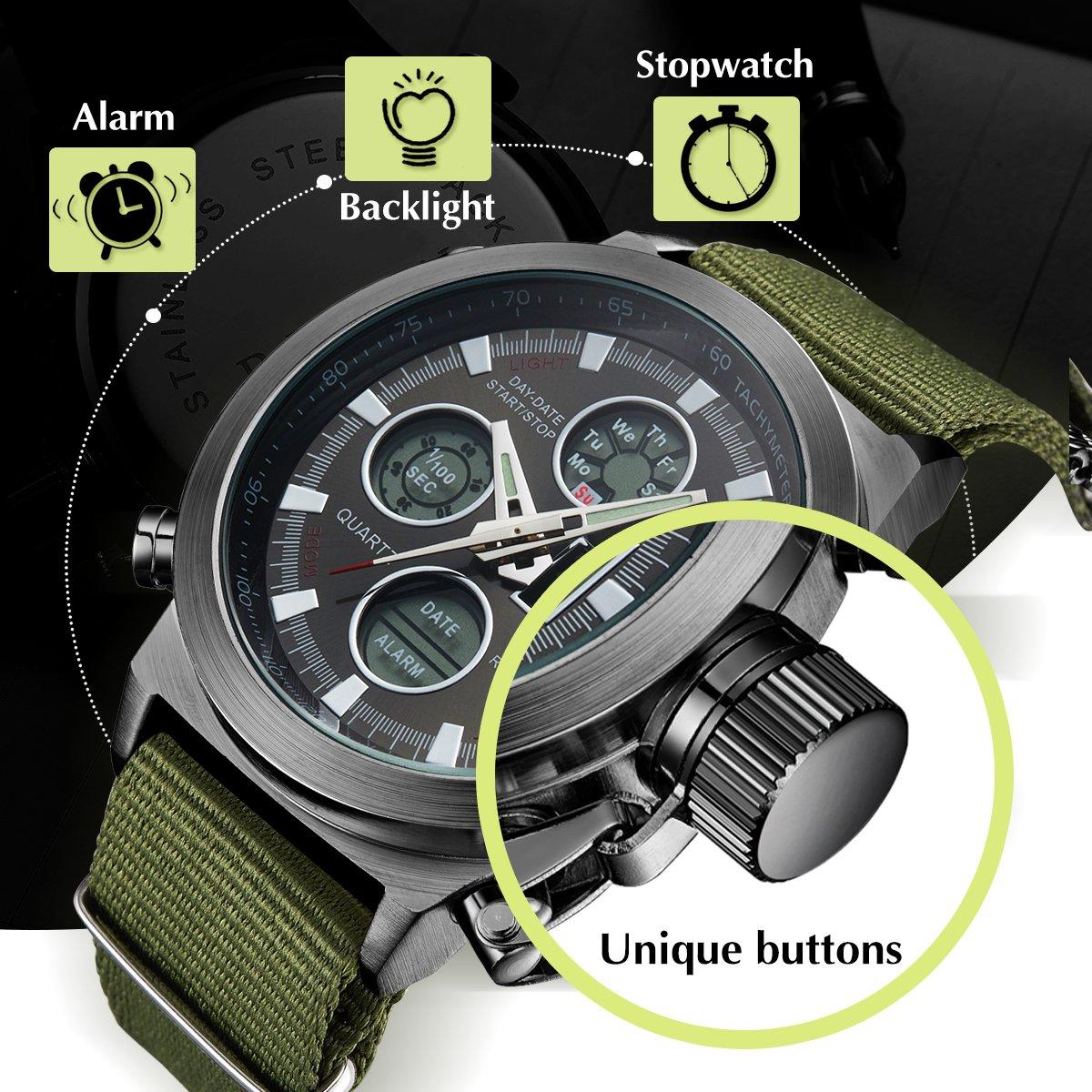 BIDEN Watch, Watch Men Digital Analog Sport Waterproof Watch,Multifunction LED Date Alarm Leather Wrist Watch (GreenBlack) by BIDEN (Image #4)