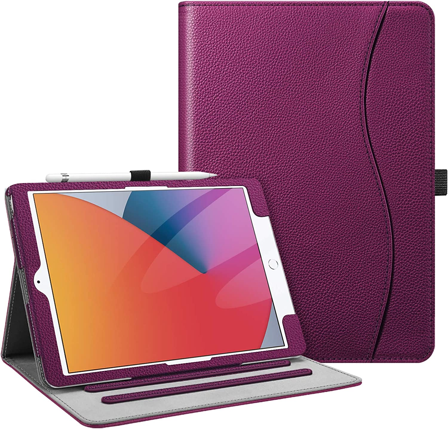 Fintie Case for New iPad 8th Gen (2020) / 7th Generation (2019) 10.2 Inch - [Corner Protection] Multi-Angle Viewing Folio Stand Cover with Pocket, Pencil Holder, Auto Wake/Sleep, Purple: Computers & Accessories
