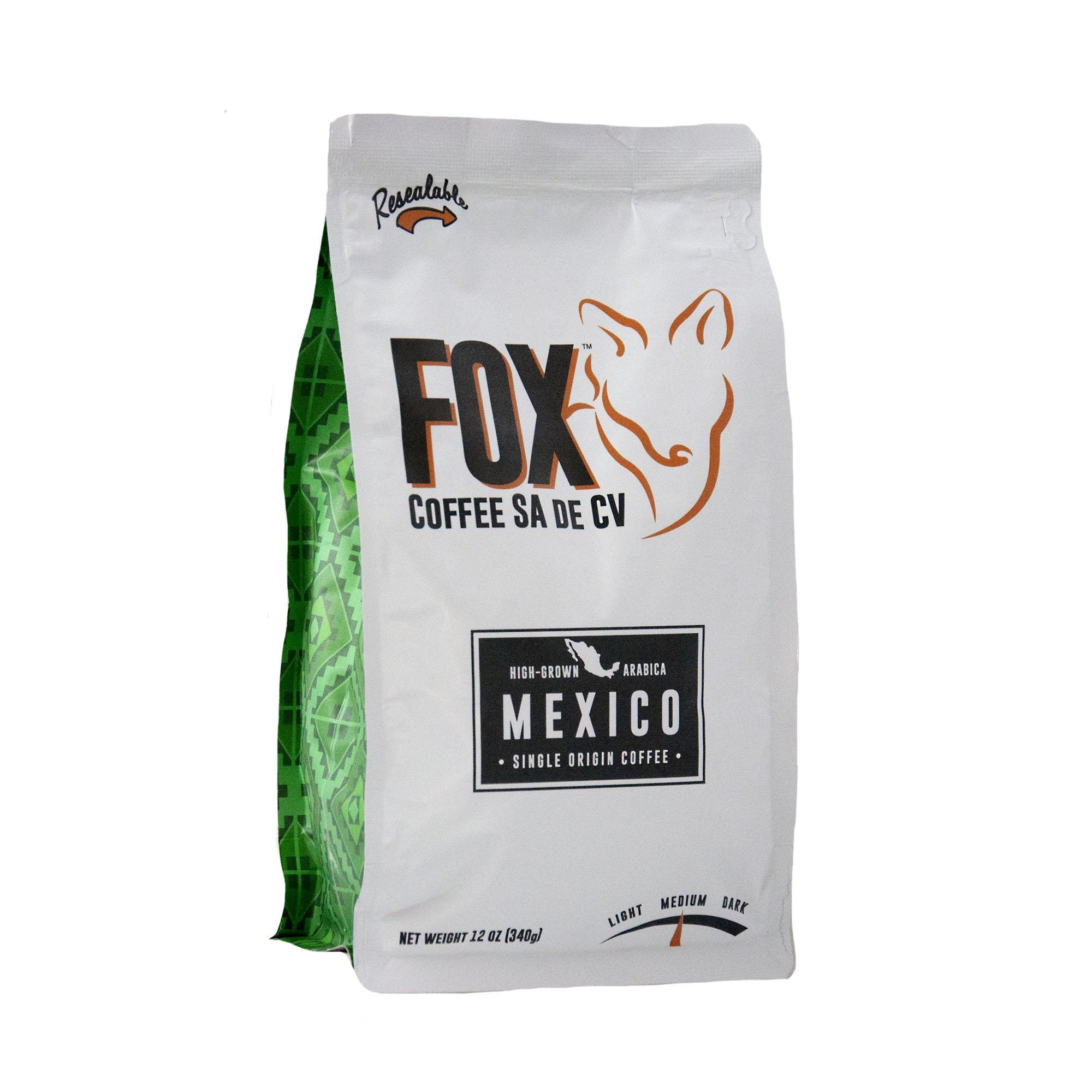 Fox Coffee Ground Medium Roast Fresh Mexican Coffee - 100% Arabica Coffee - 12 Oz. Resealable Bag Gourmet Coffee