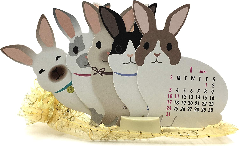 Rabbit Bunny 2021 Die-Cut Desktop Calendar 3.25 in. W x 4.5 in. Tall with Organza Pouch