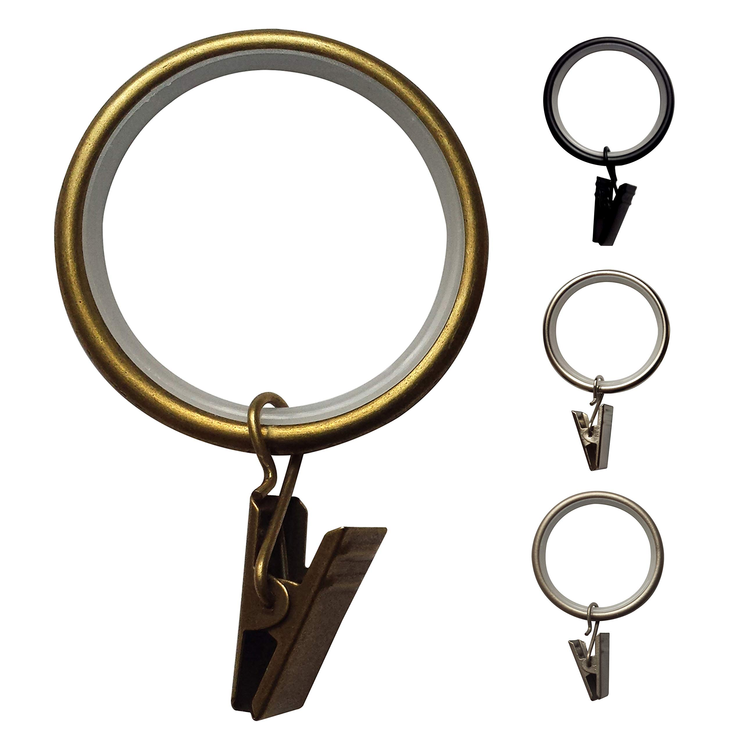 Curtain Clip Rings Quiet 1 3/8 inch - Set of 24 (Antique Brass)