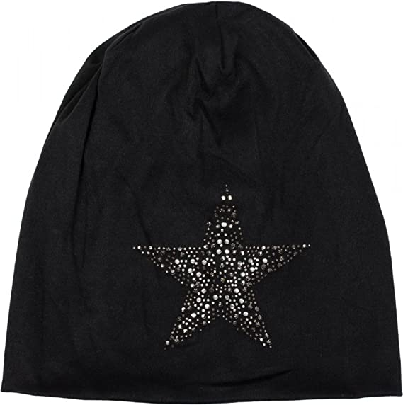 aef530fd478 styleBREAKER Beanie hat with Rhinestone Rivets Star and Silver-Anthracite  Coloured Decorative Stones