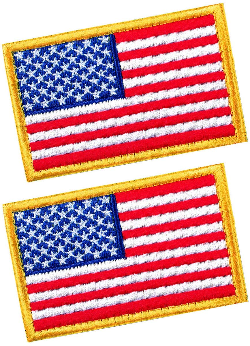 Size 3x2 Inches Tactical Patches of USA US American Flag Reverse with Hook and Loop for Backpacks Caps Hats Jackets Pants Military Army Uniform Emblems