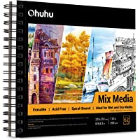 "Mix Media Pad, Ohuhu 8.9""×8.3"" Mixed Media Art Sketchbook, 120 LB/200 GSM Heavyweight Papers 62 Sheets/124 Pages, Spiral…"