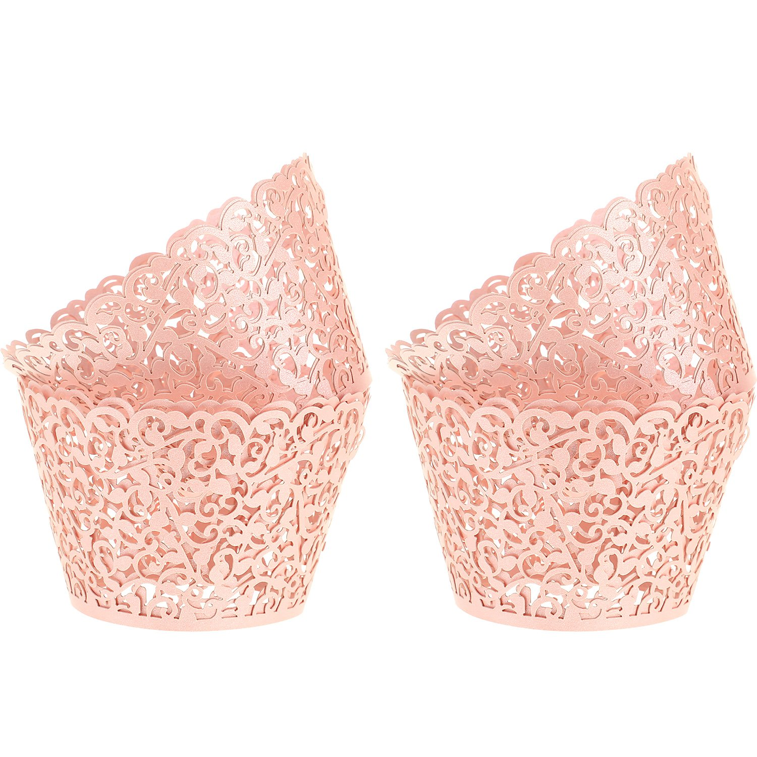 Leinuosen 150 Pieces Cupcake Wrappers Filigree Vine Cupcake Wraps Lace Cupcake Liners for Wedding Birthday Baby Shower Parties Decoration (Pink)