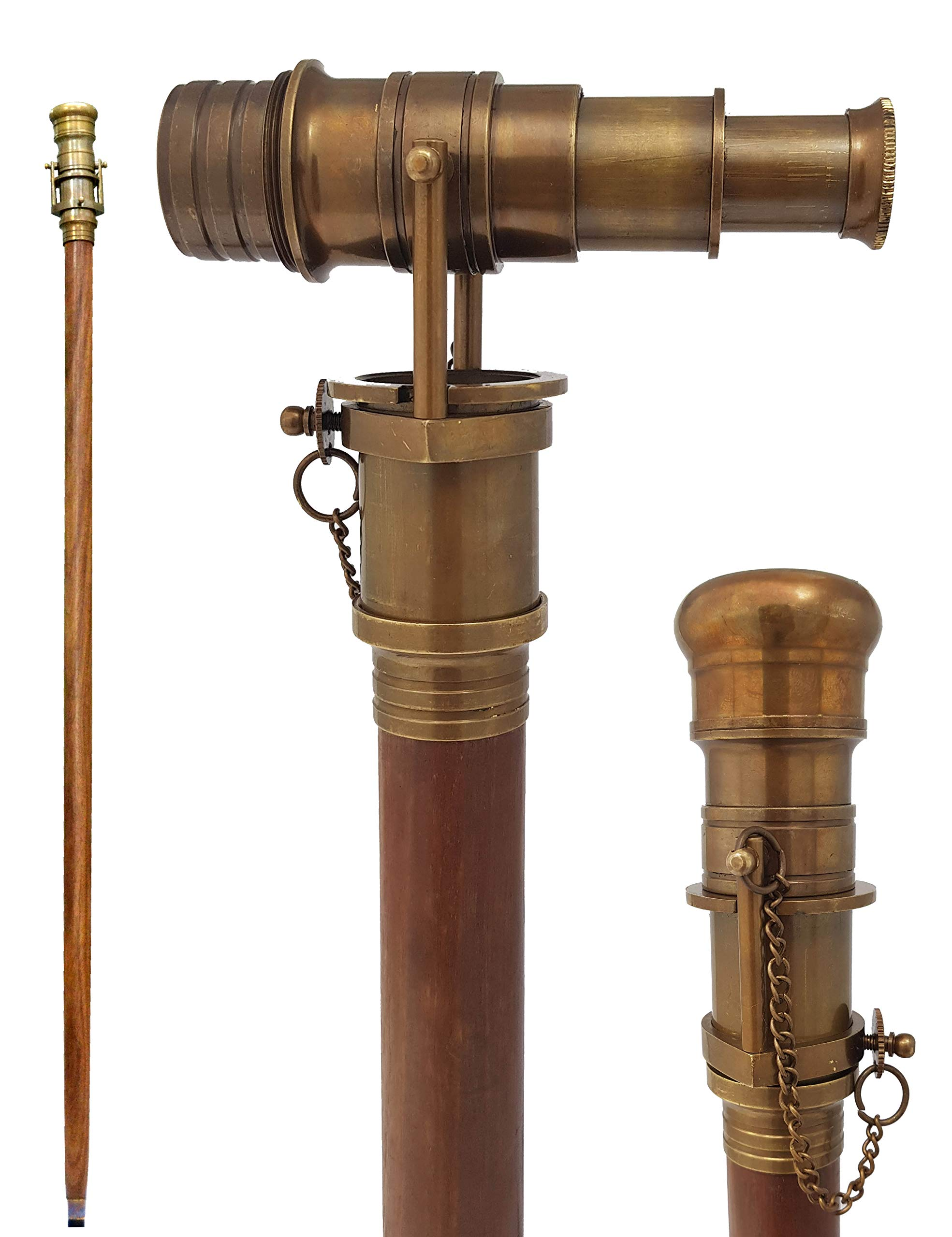 Brass Nautical Telescope Walking Stick Antique Finish Costume Wooden Cane Foldable Rosewood Stick Steampunk Style