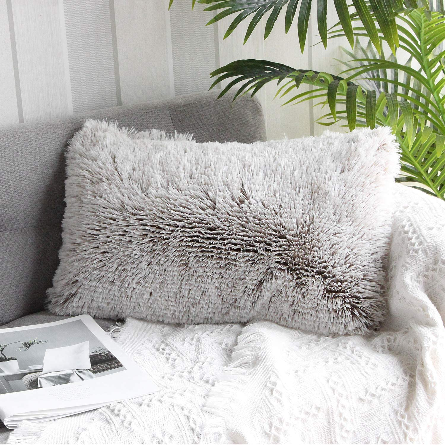 Uhomy 1 Pack Home Decorative Luxury Series Super Soft Plush Faux Rectangular Fur Pillow Cover Pillowcase for Sofa//Bed//Living Room 12x20 Inch 30x50 cm Red Ombre Burgundy