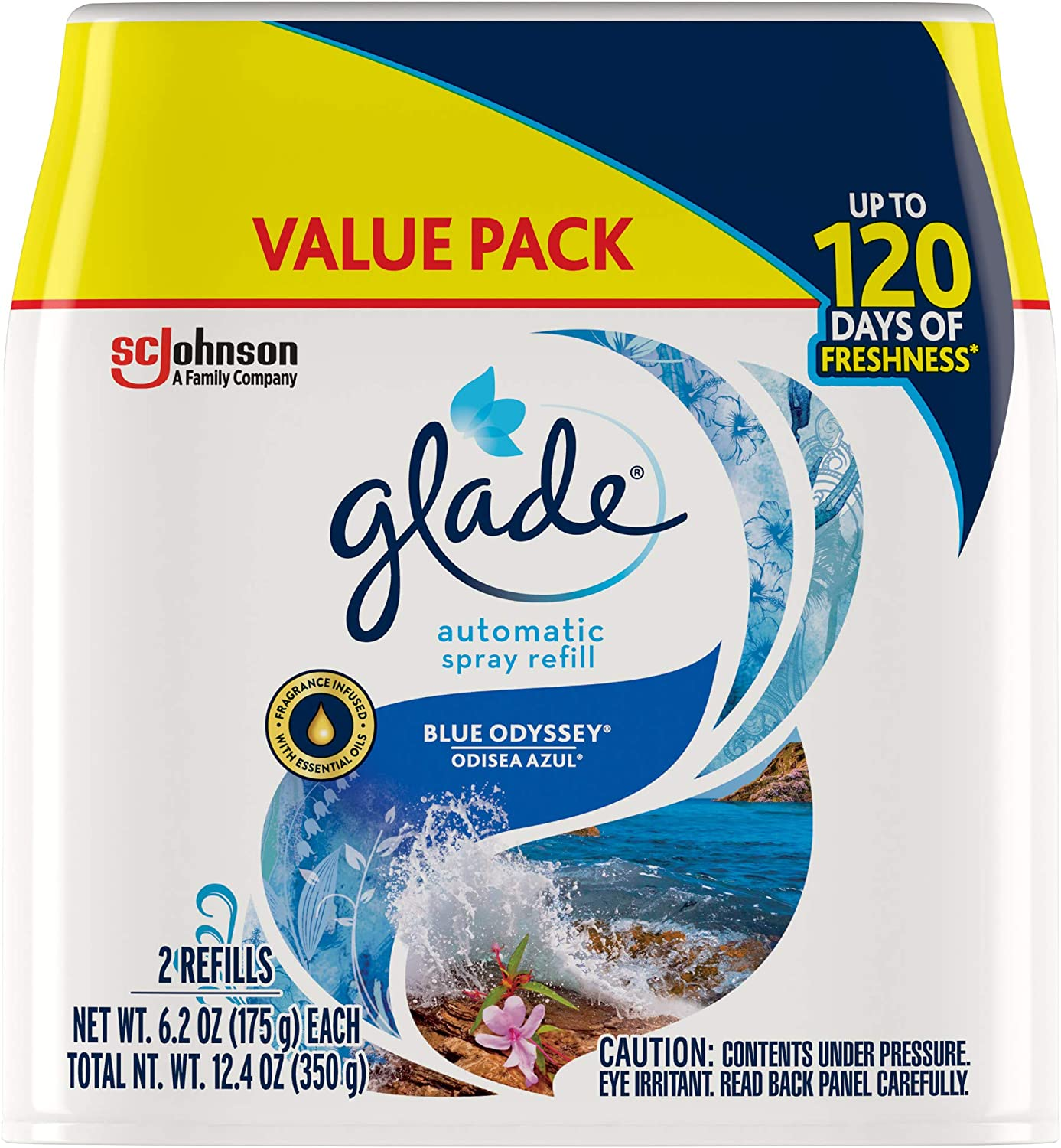 Glade Automatic Spray Refill Blue Odyssey, Fits in Holder For Up to 60 Days of Freshness, 6.2 oz, Pack of 2
