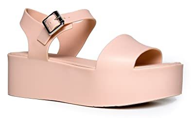 b843b702b1 J. Adams Women's Platform Sandal Comfort Platform Jelly Wedge Open Peep Toe  Fashion - Chunky Platform Ankle Strap Ultra Comfortable Walking Shoe