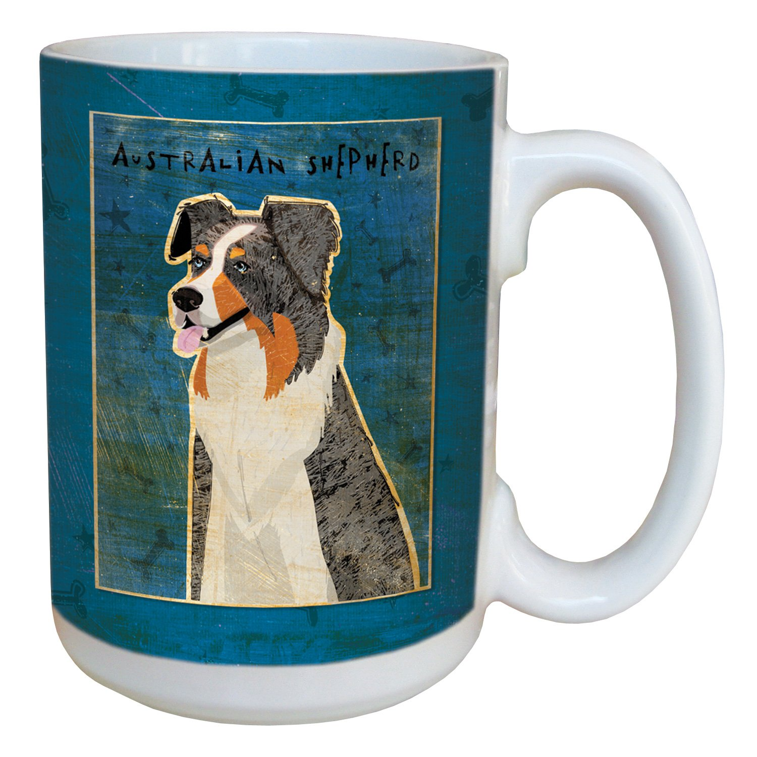 Tree-Free Greetings sg44017 Blue Merle Australian Shepherd by John W. Golden Ceramic Mug with Full-Sized Handle, 15-Ounce Tree Free lm44017